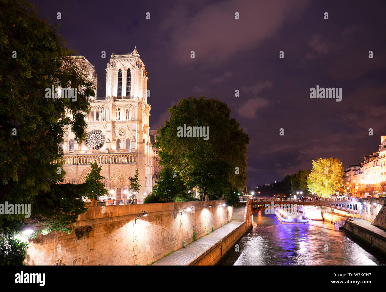 famous Notre Dame cathedral over the Seine river illuminated at night, Paris, France - Stock Image