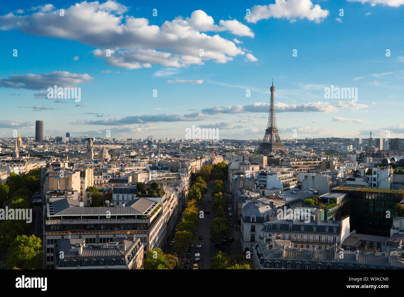 Eiffel Tower iconic landmark and Paris old roofs from above, Paris France - Stock Image