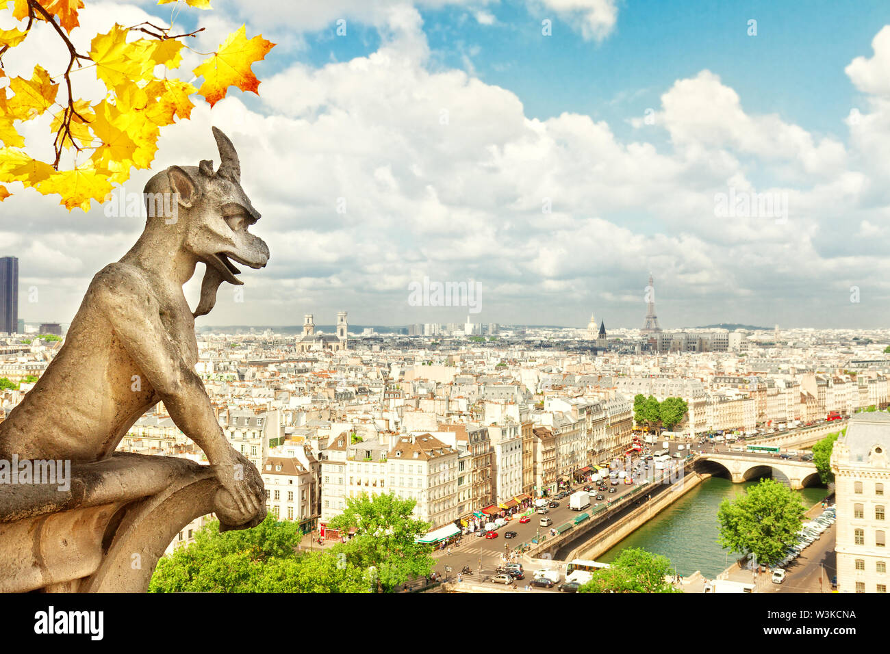 Gargoyle of Paris on Notre Dame Cathedral church and Paris cityscape from above, France at fall - Stock Image
