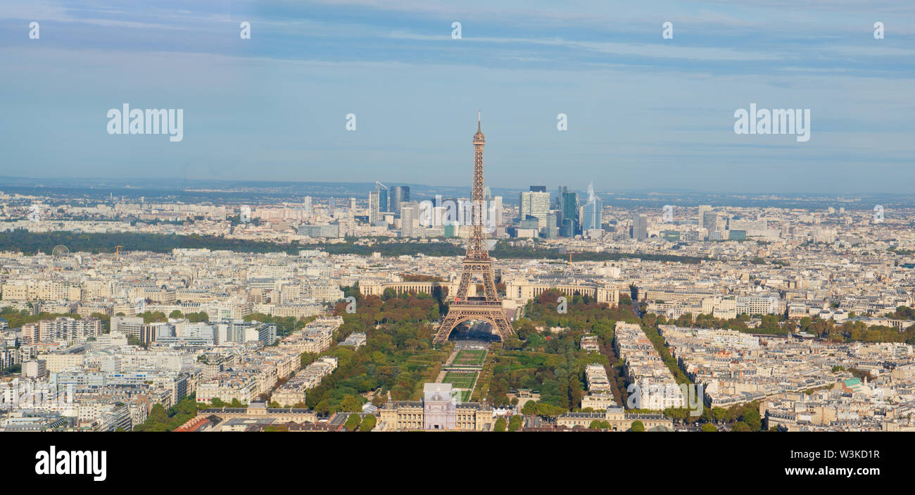 Eiffel Tower landmark and Paris cityscape from above, Paris France, web banner - Stock Image