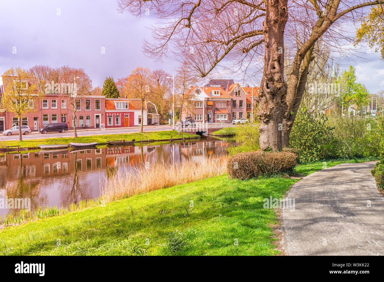 Typical view of a small Dutch town. - Stock Image