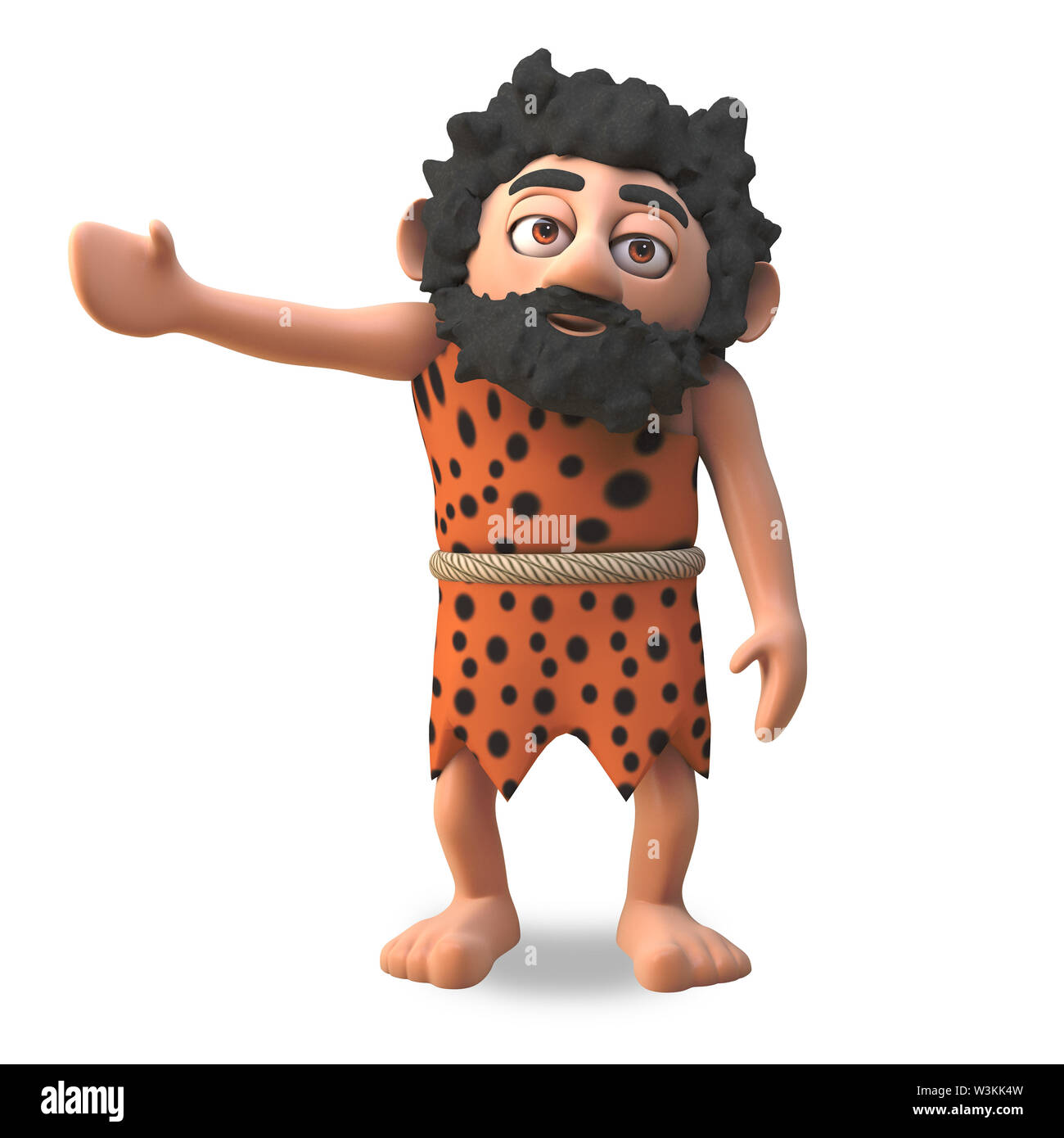 Mighty caveman 3d cartoon character gestures to the right with his arm, 3d illustration render - Stock Image