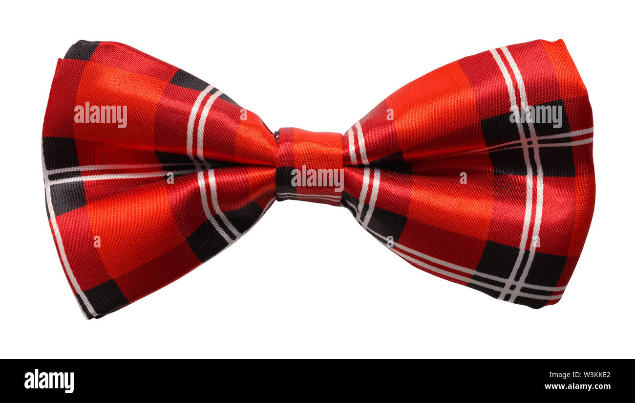 Red Plaid Bow Tie Cut Out On White. - Stock Image