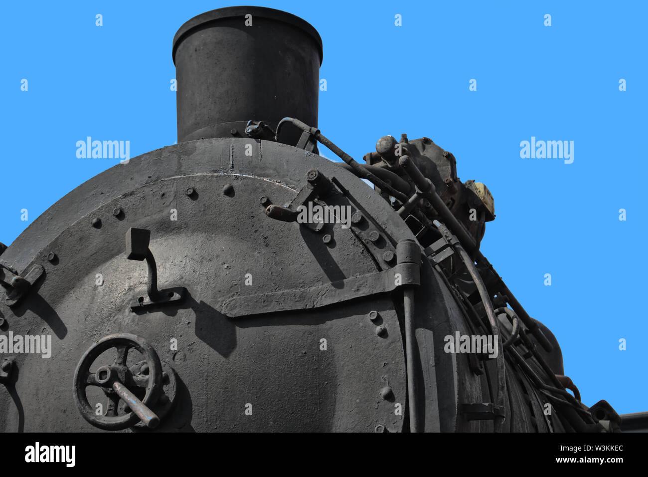 Close-up of a historic black steam locomotive Stock Photo