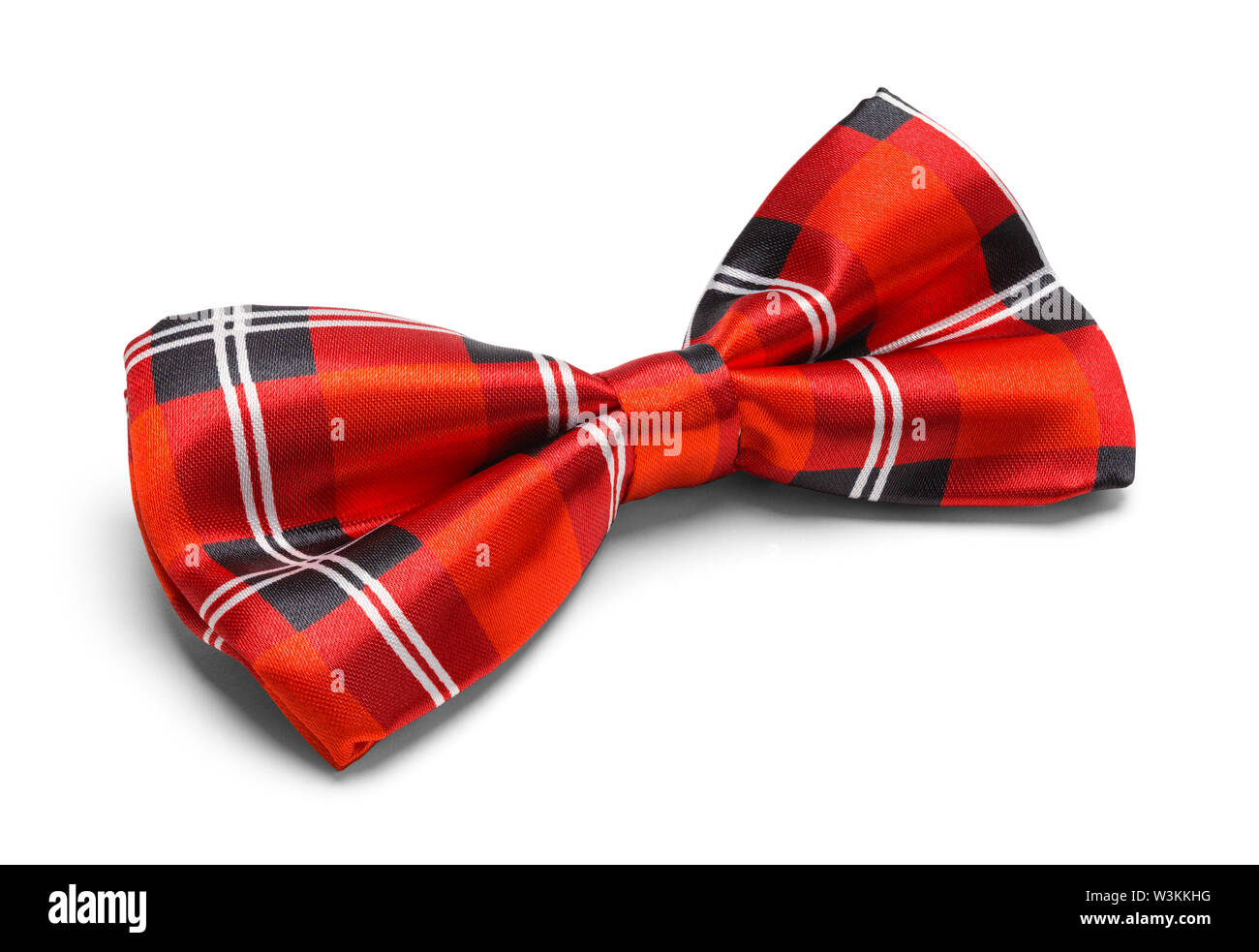 Red Plaid Bow Tie Isolated on White Background. - Stock Image