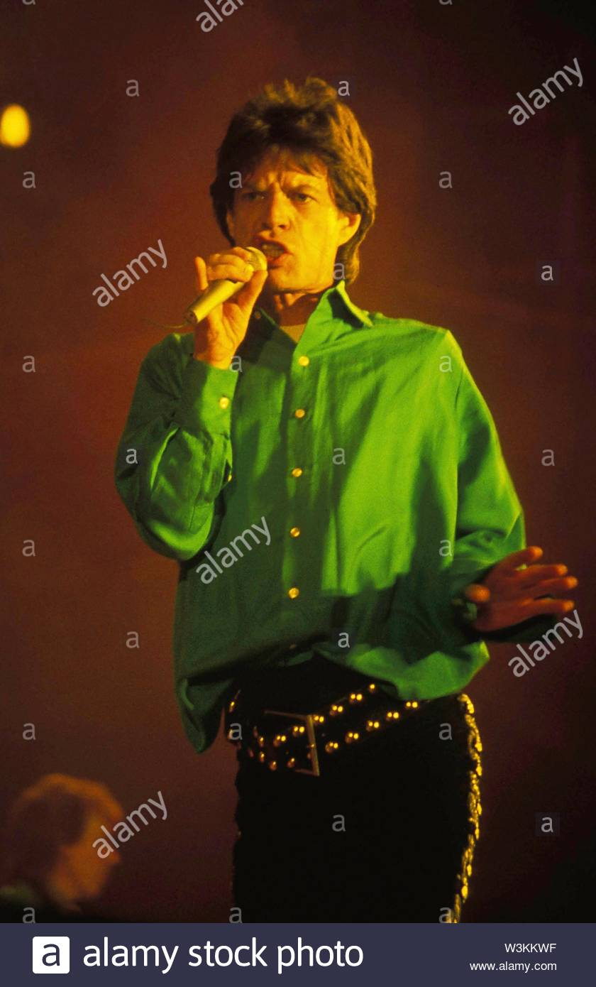 Mick Jagger Pictured As The Rolling Stones In Concert Three River Stadium, Pittsburg, PA 09-06-1989.. Credit: 381268_Globe Photos/MediaPunch - Stock Image