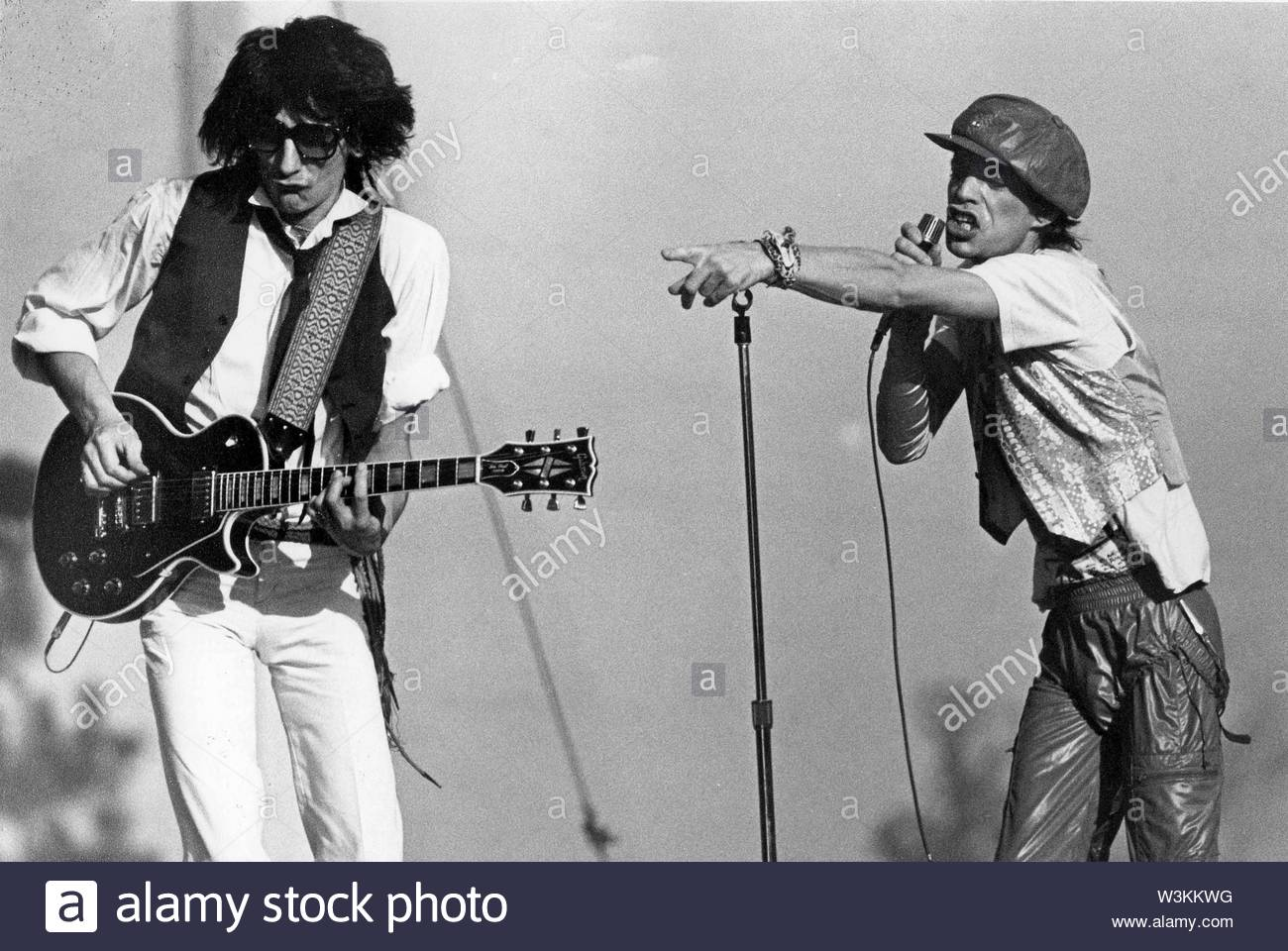 Ron Wood With Mick Jagger Of Rolling Stones In L.A. 1978. Credit: 381393_Globe Photos/MediaPunch - Stock Image