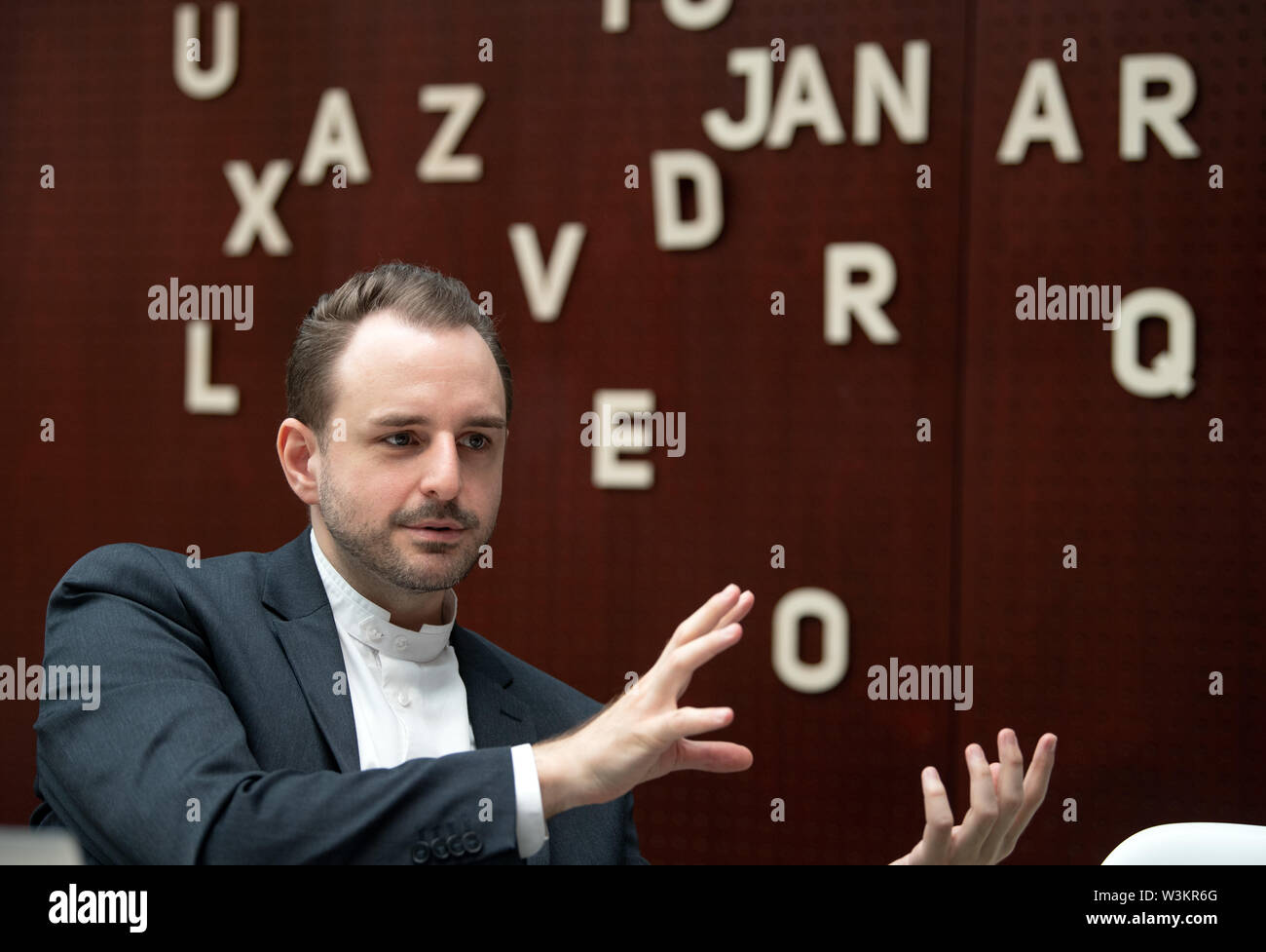 Berlin, Germany. 11th July, 2019. Thomas Christian Bächle, media scientist and one of the two directors of the research program 'The Development of the Digital Society' at the Humboldt Institute for Internet and Society (HIIG). Credit: Soeren Stache/dpa/Alamy Live News - Stock Image