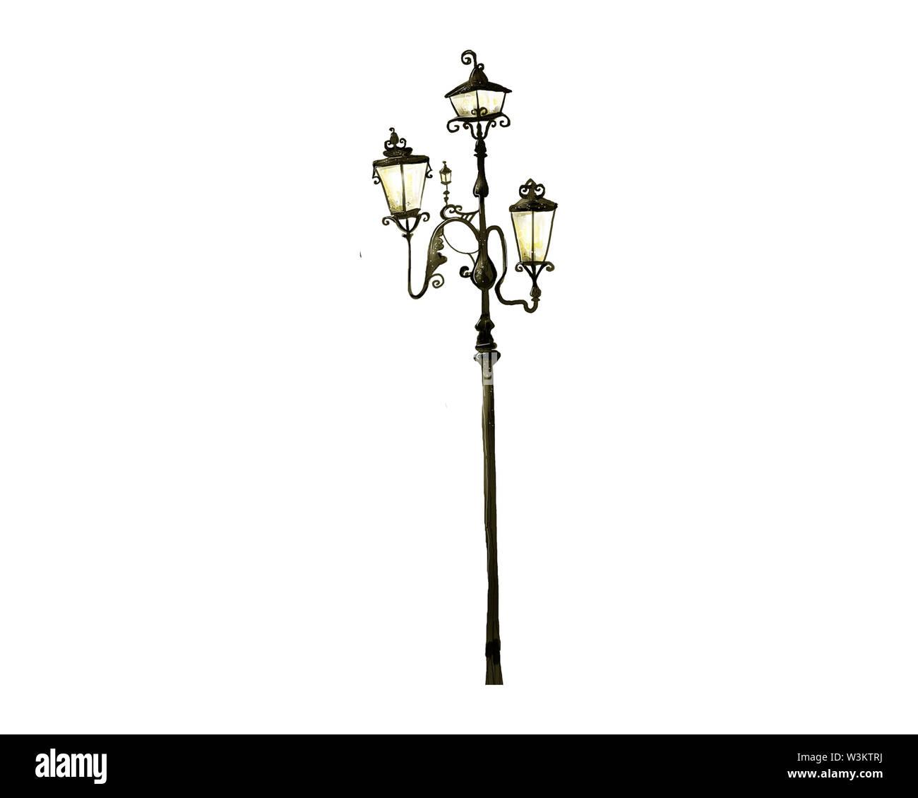 retro vintage street lamp isolated on white background Stock Photo