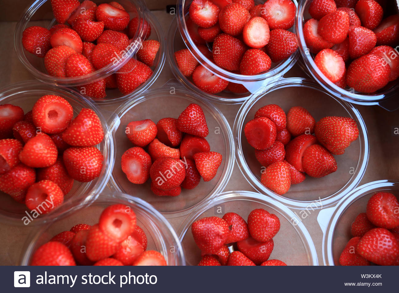 Embargoed to 0001 Wednesday July 17 File photo dated 5/7/2017 of fresh strawberries. Soft fruit exports from the UK reached £22.1 million last year, up from £13 million the year before, figures show. - Stock Image