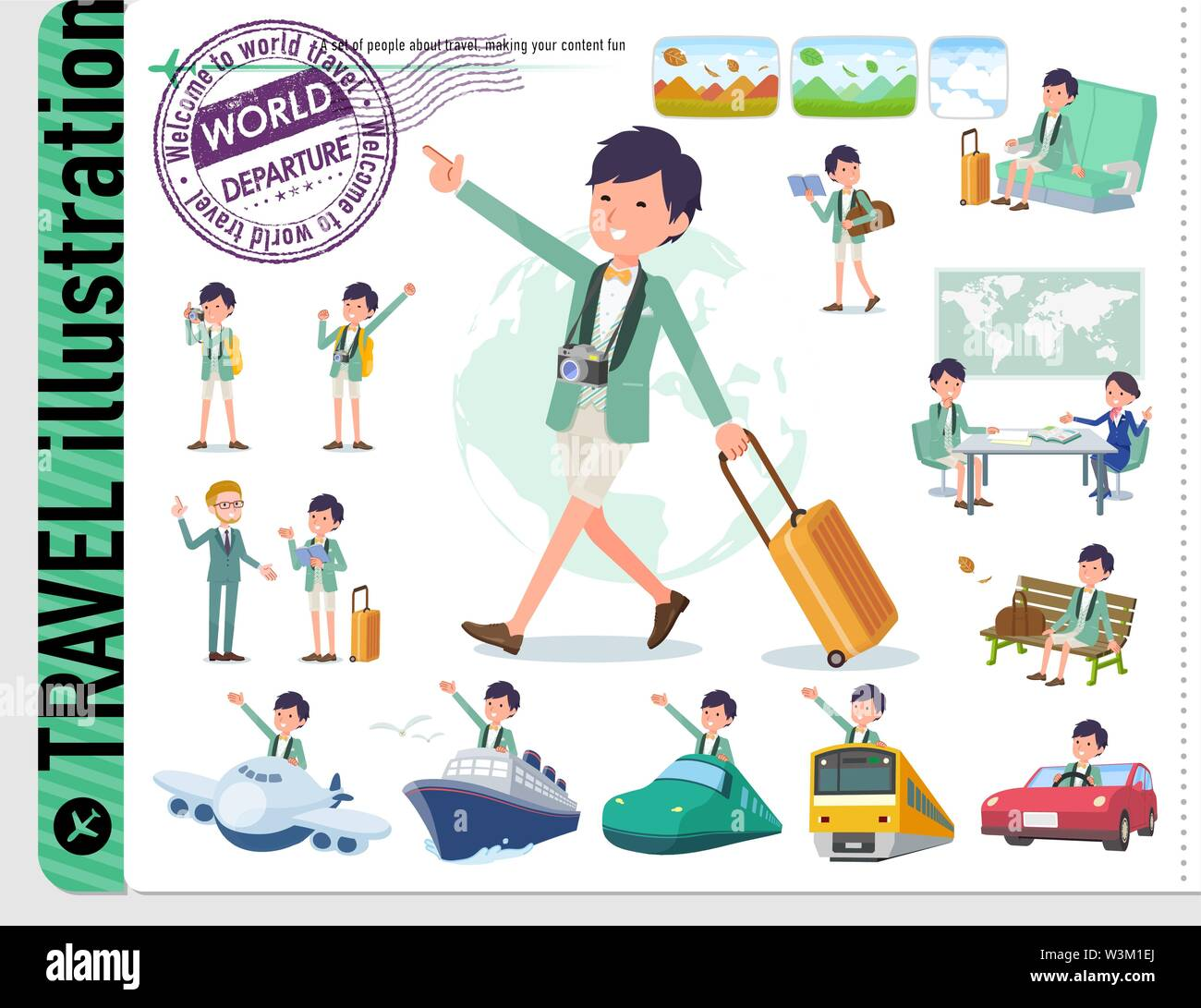 A set of tuxedo man on travel.There are also vehicles such as boats and airplanes.It's vector art so it's easy to edit. - Stock Image