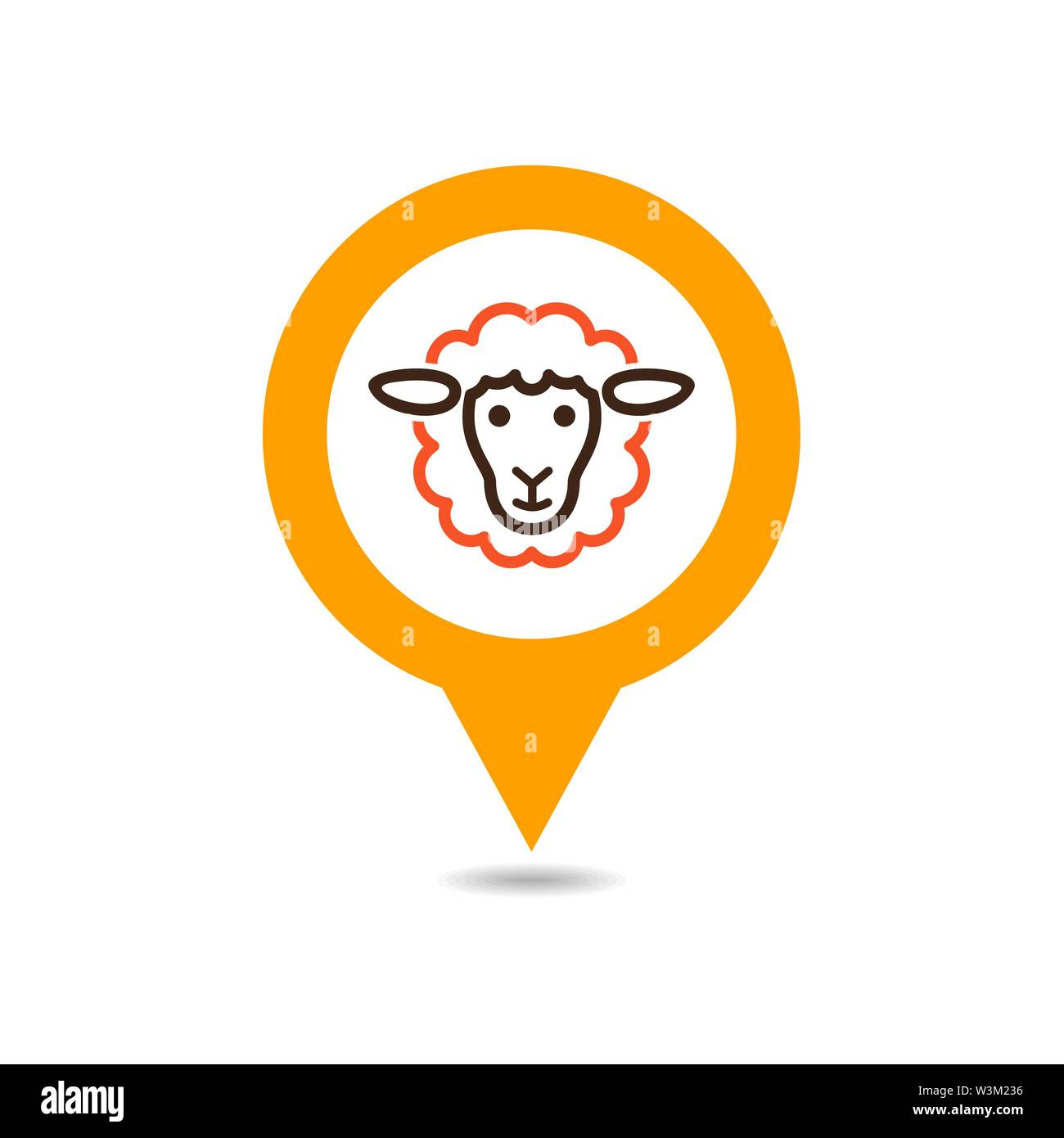 Sheep pin map icon. Farm animal Map pointer. Map marker. Graph symbol for your web site design, logo, app, UI. Vector illustration - Stock Image