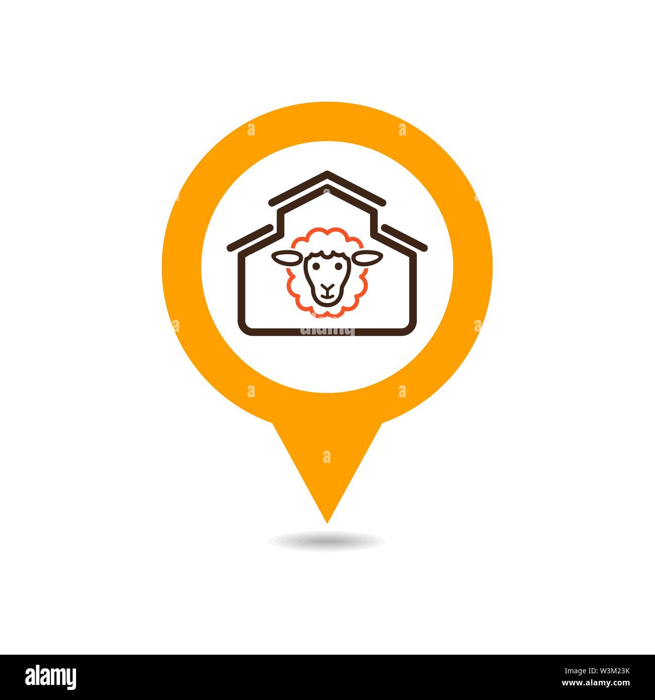 Sheep house pin map icon. Farm animal Map pointer. Map marker. Graph symbol for your web site design, logo, app, UI. Vector illustration - Stock Image
