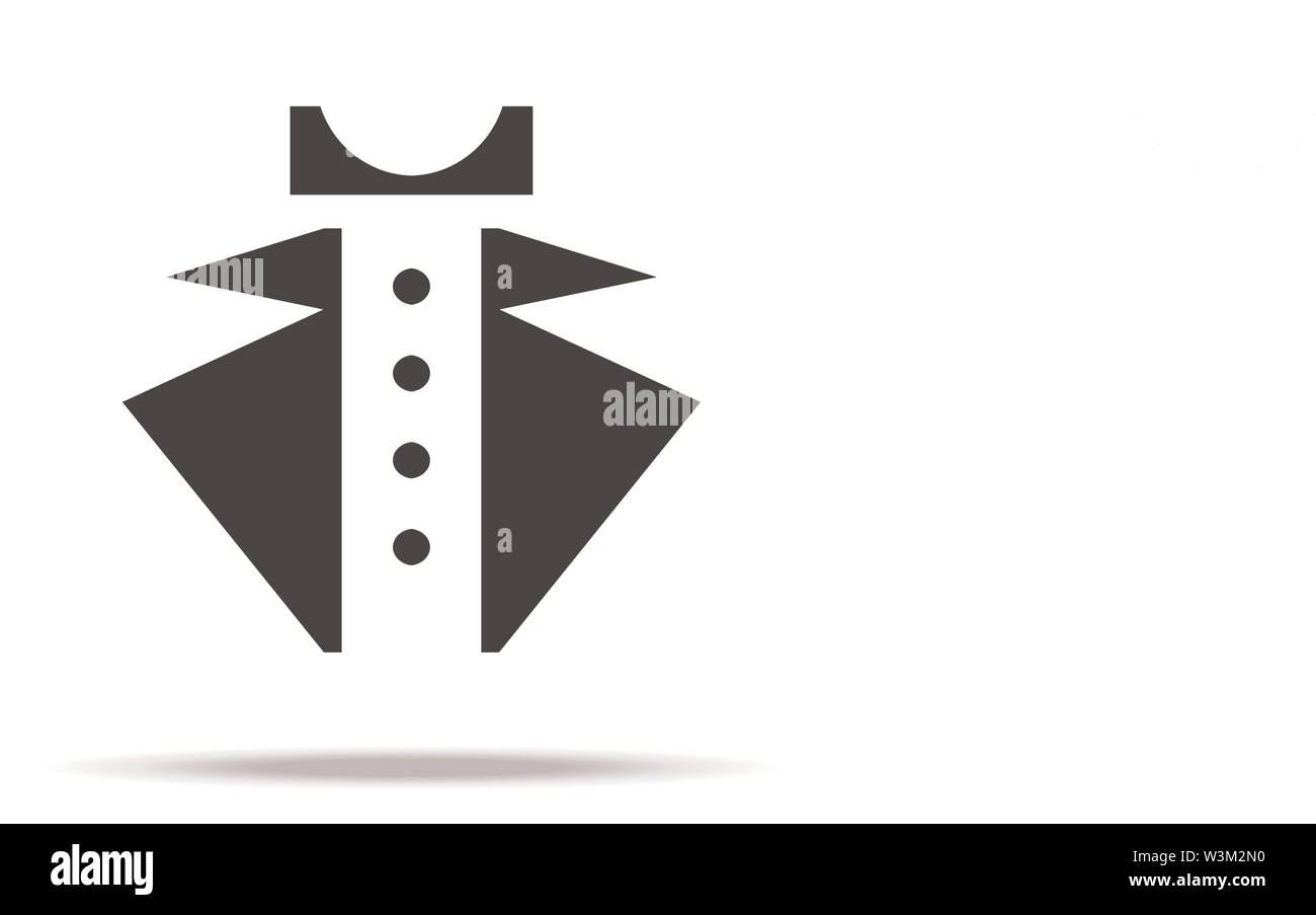 Gentleman vector logo icon on white background. Shirtfront tuxedo and bowtie elements. Man uniform concept. Flat simple line design. eps10 - Stock Image