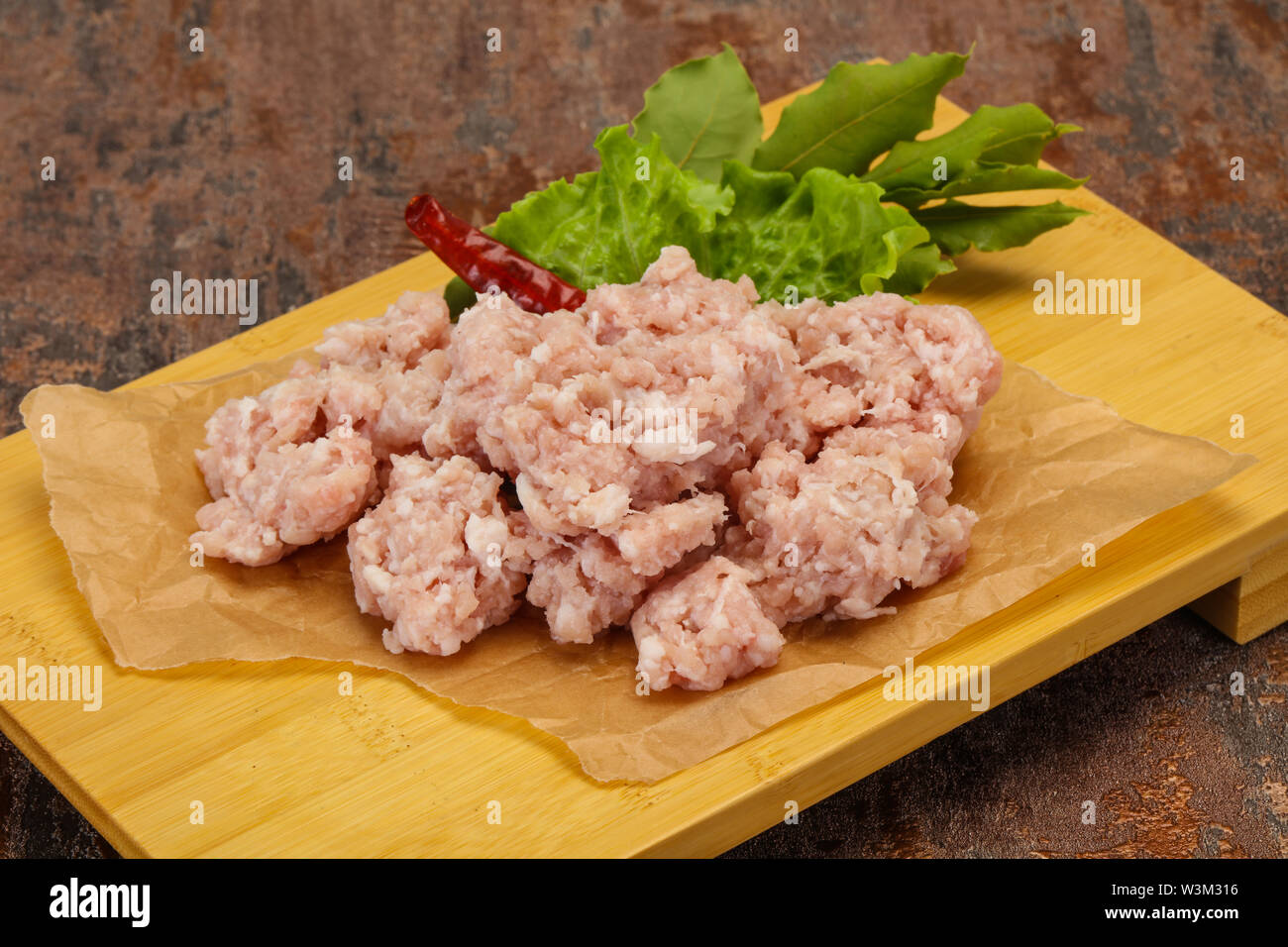 Homemade pork minced meat ready for cooking - Stock Image