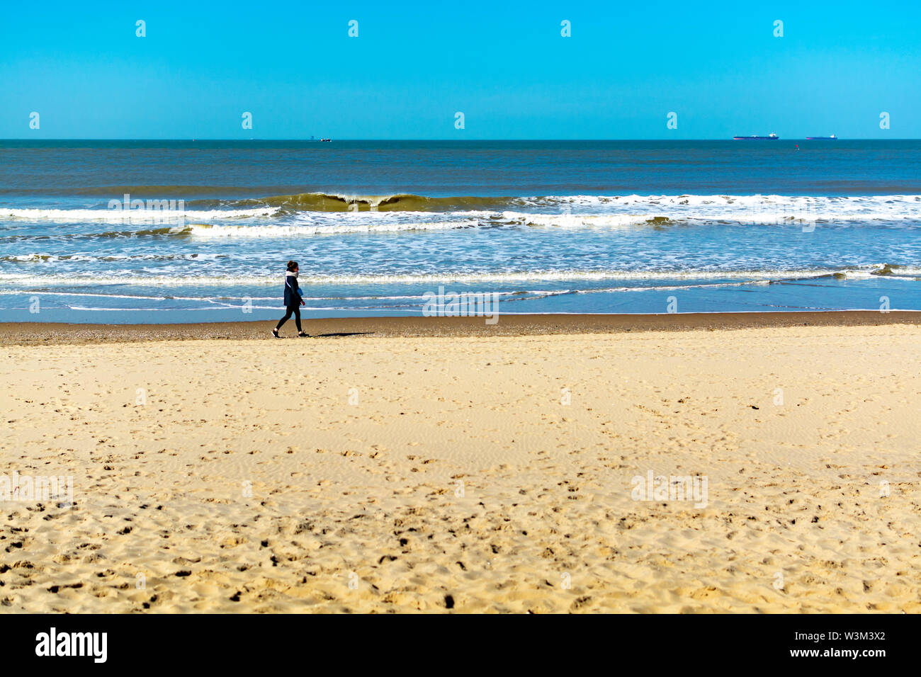 Sunny day on North sea beach in Netherlands near Scheveningen, tourist and vacation destination in Europe - Stock Image