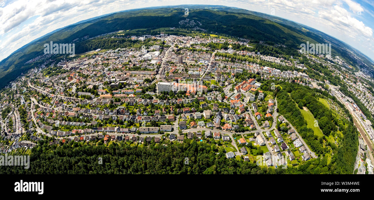 Aerial view of Arnsberg as fisheye photograph, fisheye with district government, Regierungspräsident Arnsberg in Sauerland in the state of North Rhine Stock Photo