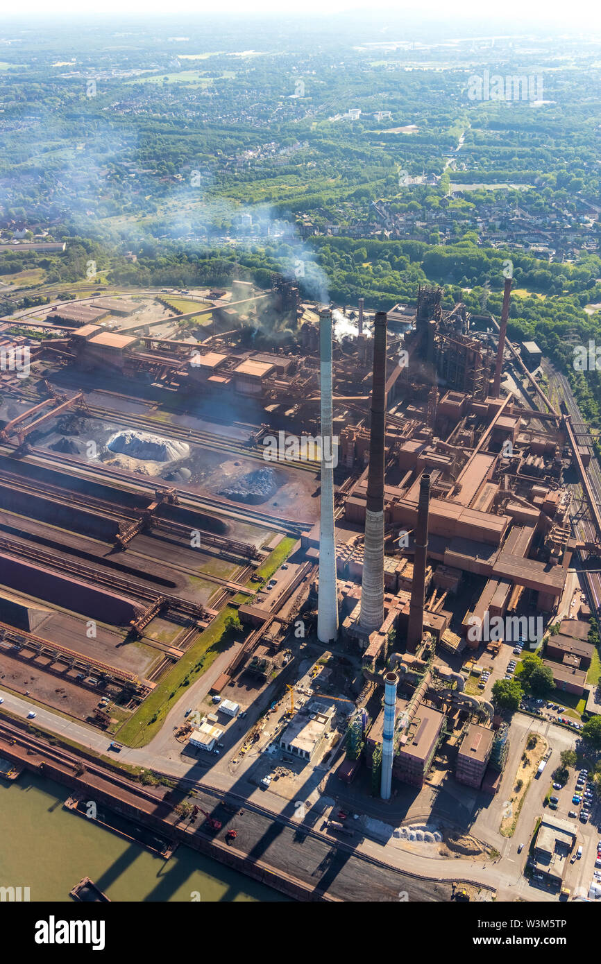 Aerial photograph of the ThyssenKrupp steelworks Schwelgern and coking plant Schwelgern in Marxloh am Rhein in Duisburg in the Ruhr area in the federa - Stock Image