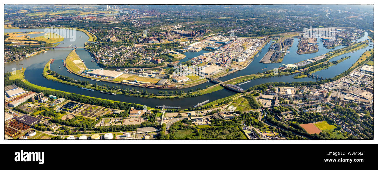 Aerial photo of Duisburger Hafen Duisport AG an der Ruhr with Ruhr estuary into the Rhine in overview and details in Ruhrort in Duisburg in the Ruhr a - Stock Image
