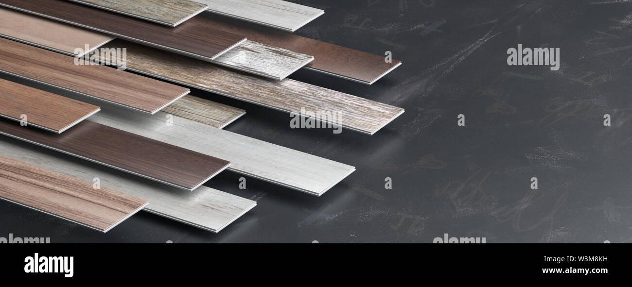 Laminate floor on black board background, banner, copy space. 3d illustration - Stock Image