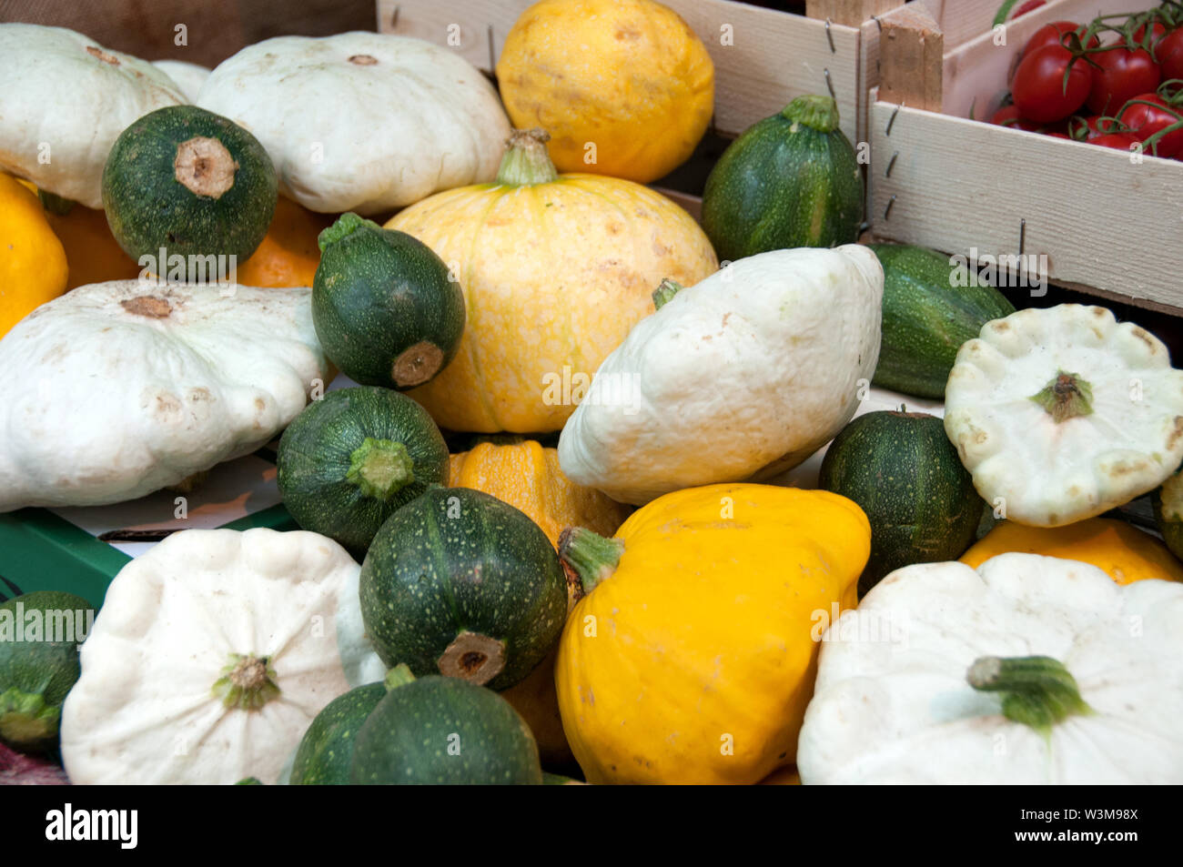 Large stack of gourds for thanksgiving and halloween celebrations Stock Photo