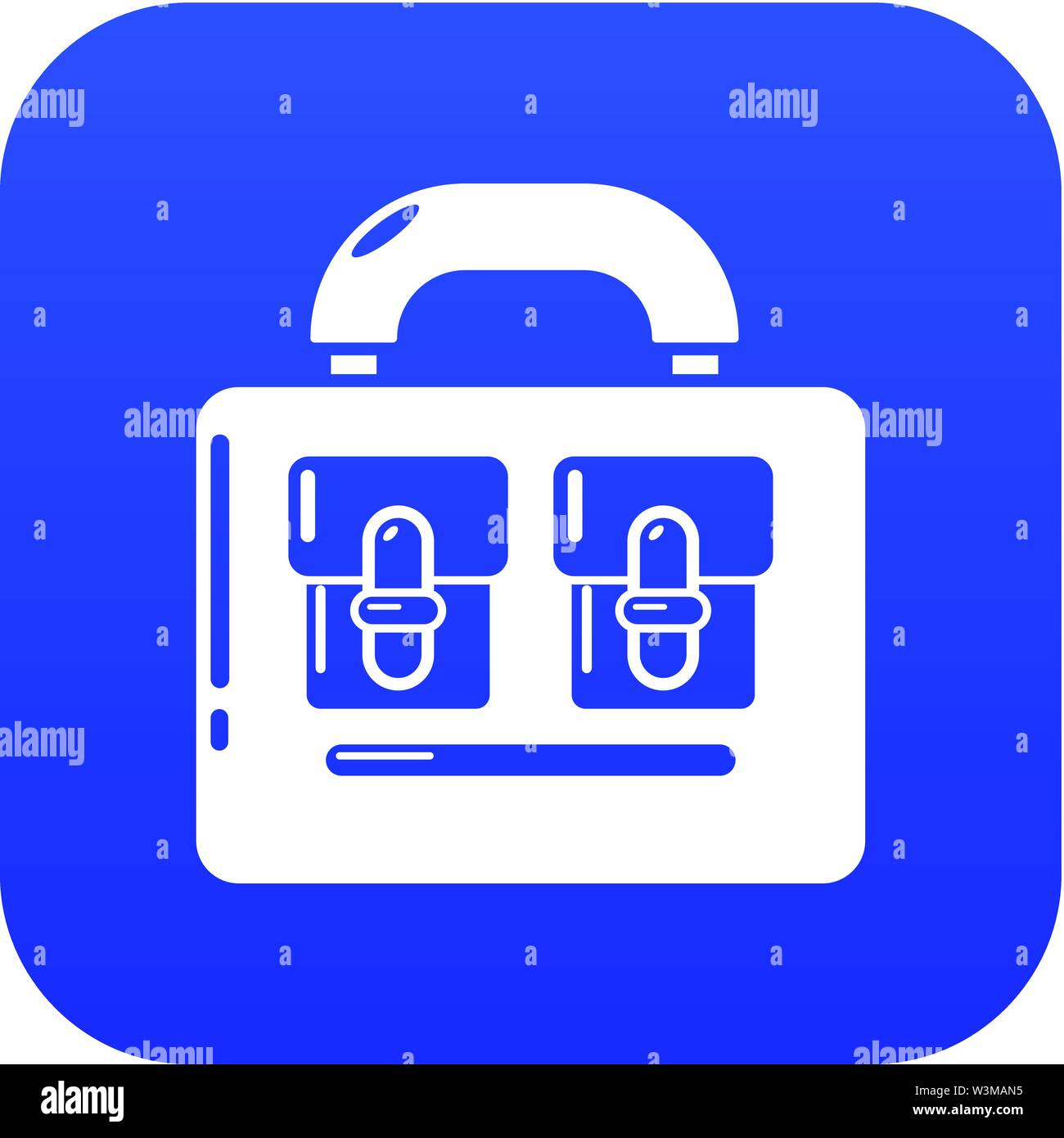 Travel bag vintage icon, simple black style - Stock Image