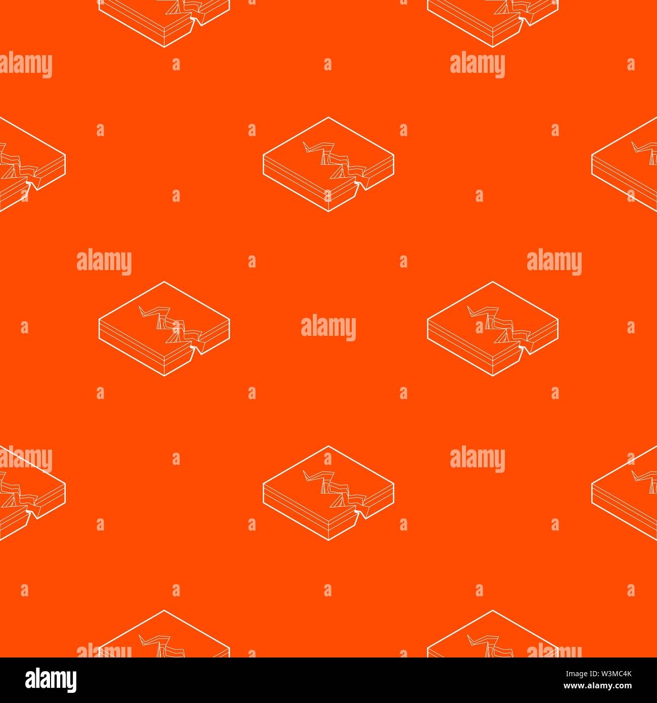 Earth crack pattern vector orange - Stock Image