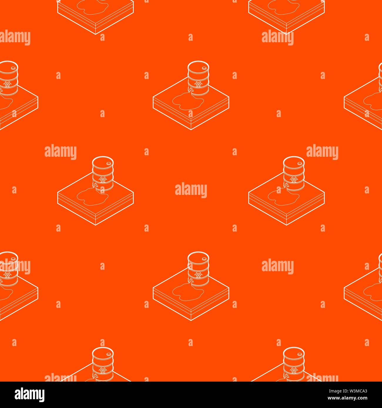 Toxic waste spilling from barrel pattern vector orange - Stock Image