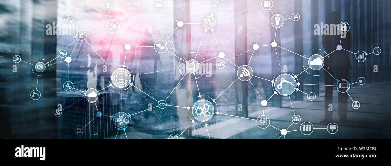 Technology industrial business process workflow organisation structure on virtual screen. IOT smart industry concept mixed media diagram. - Stock Image