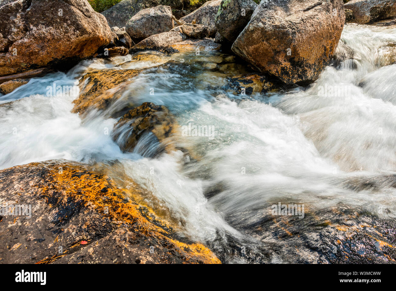 Long exposure of flowing stream in Stanley, Idaho - Stock Image