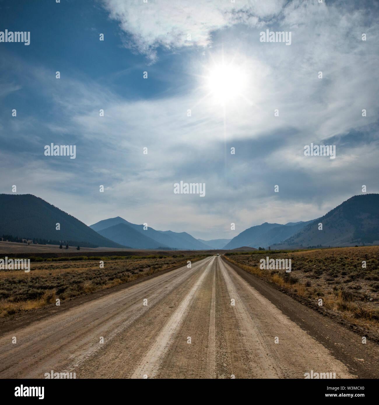 Dirt road through Sun Valley, Idaho, USA - Stock Image