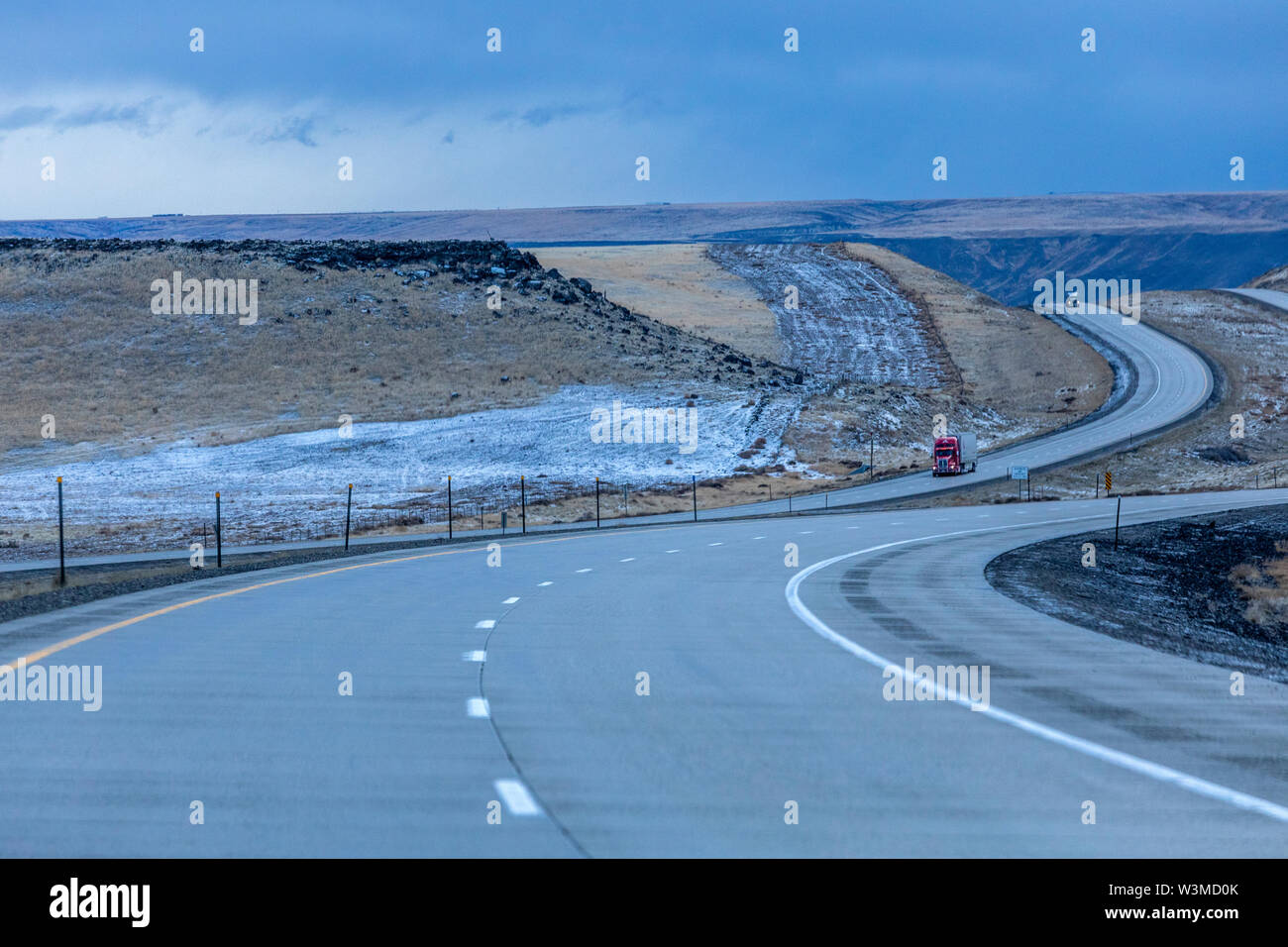 Highway during winter in Glenns Ferry, Idaho - Stock Image