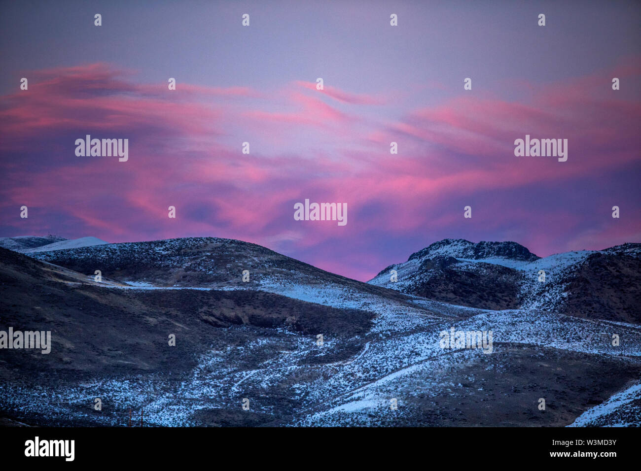 Mountain landscape at sunset in Bellevue, Idaho, USA - Stock Image