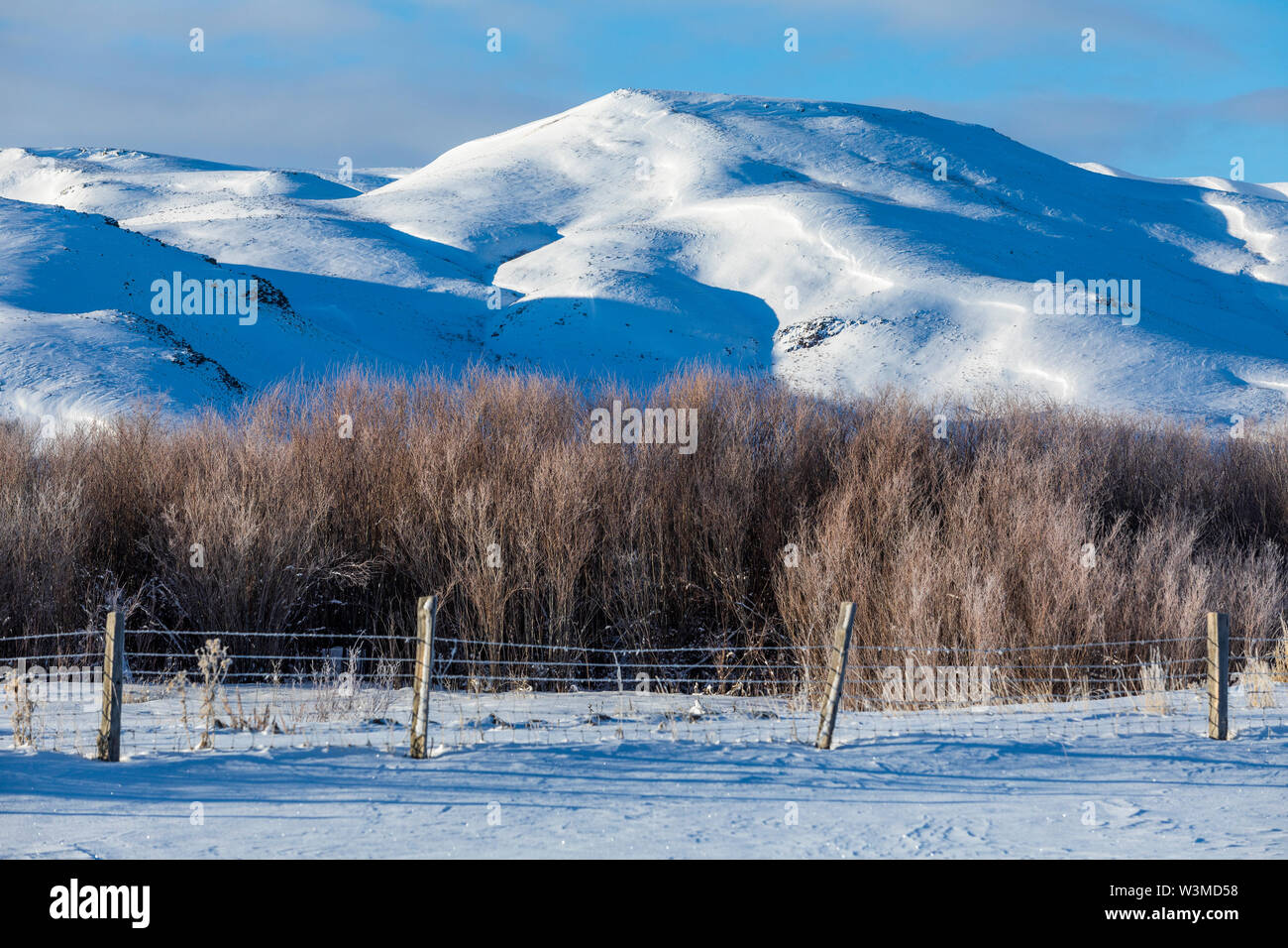 Snow capped mountains in Picabo, Idaho - Stock Image