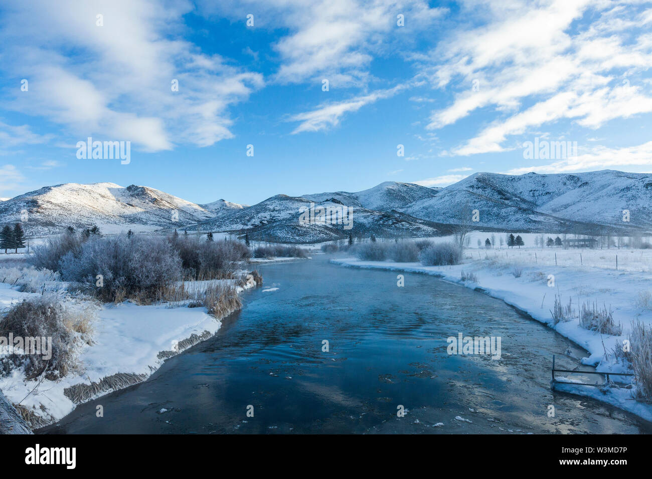 River during winter in Picabo, Idaho - Stock Image