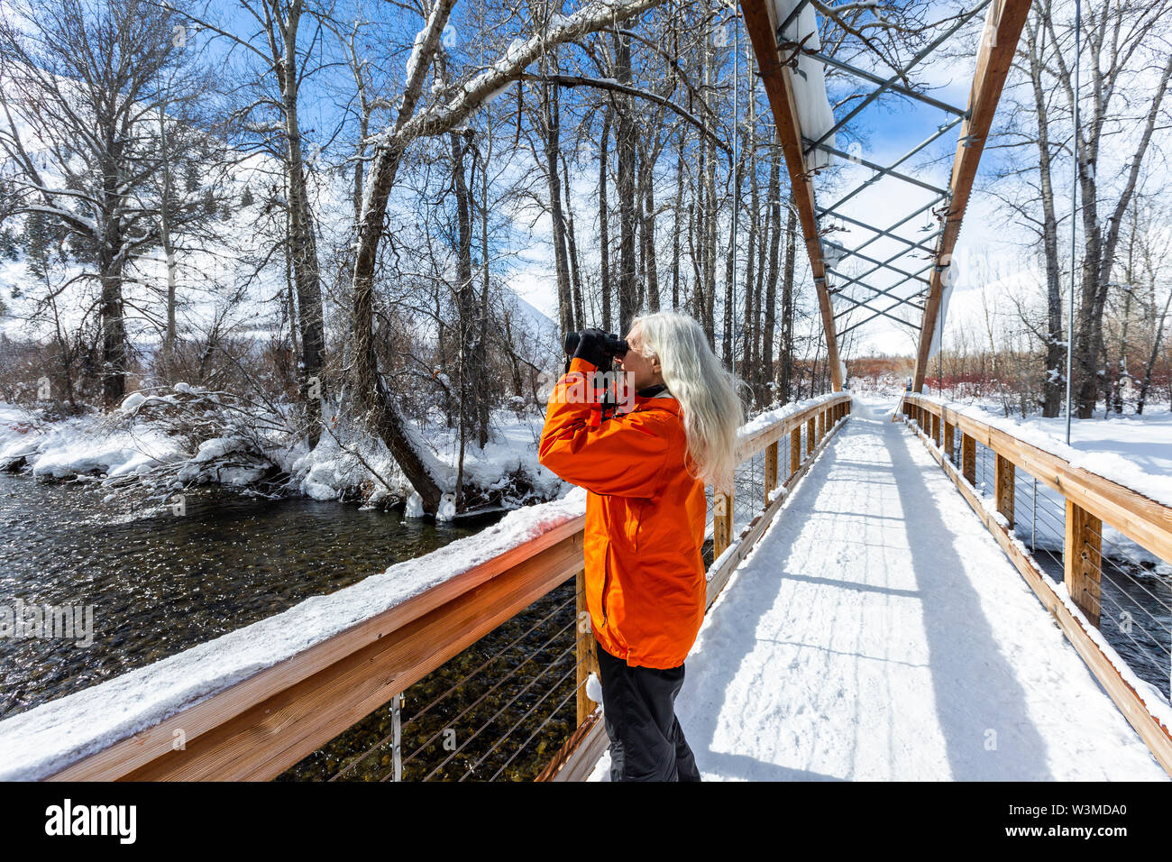 Mature woman using binoculars on snow covered footbridge - Stock Image