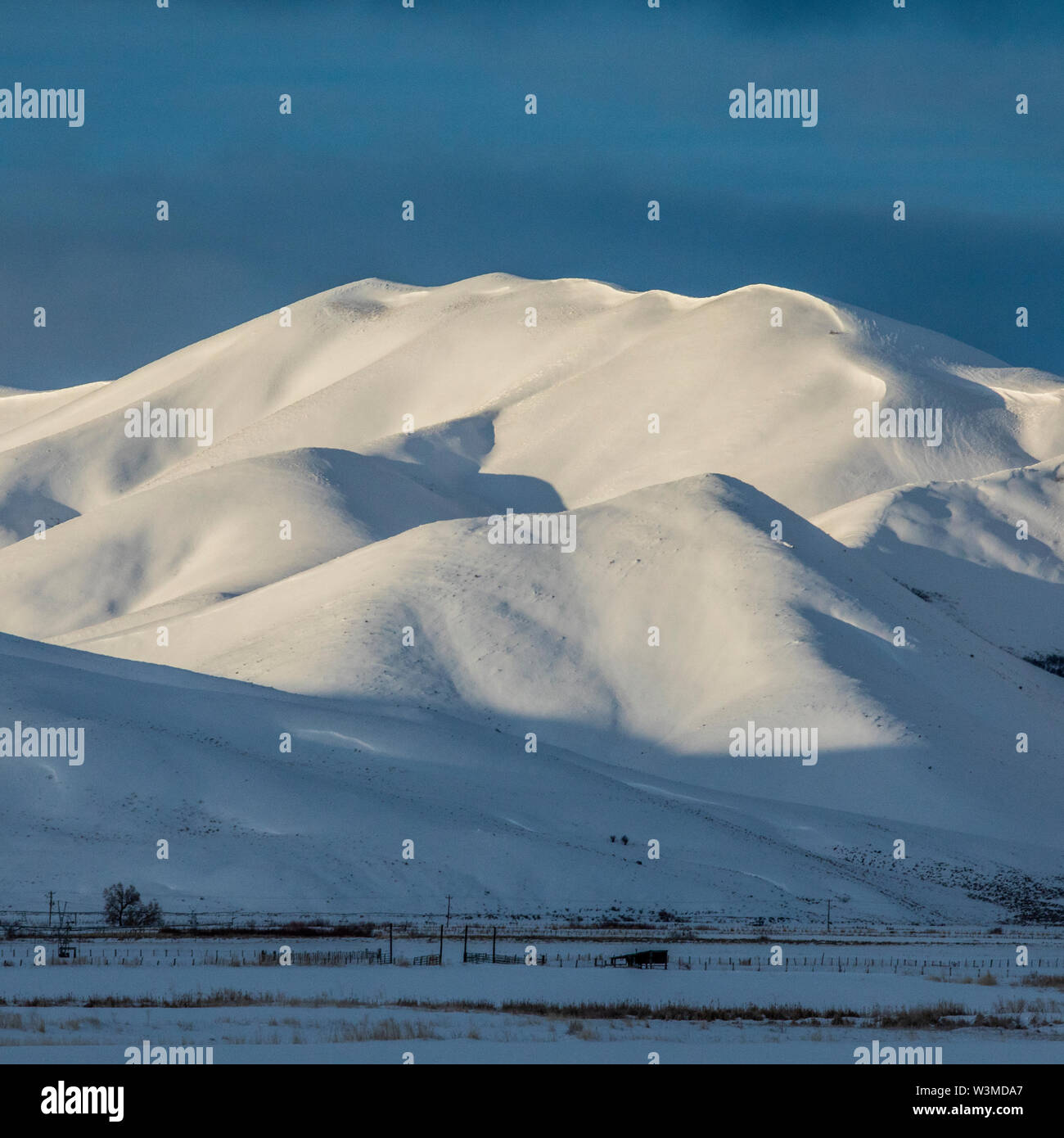 Snow capped mountain in Picabo, Idaho - Stock Image