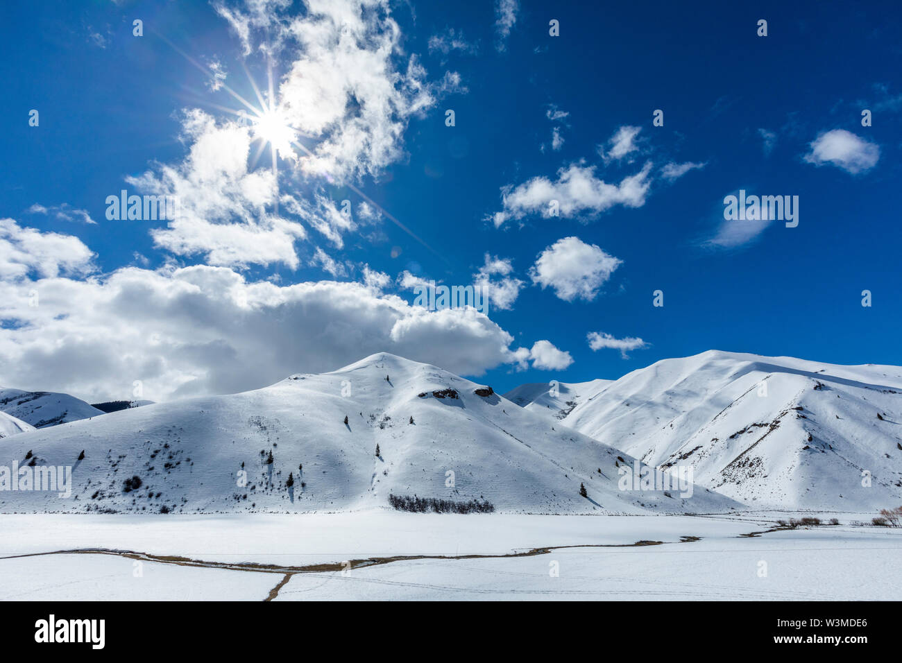 Snow covered mountains in Bellevue, Idaho, USA - Stock Image