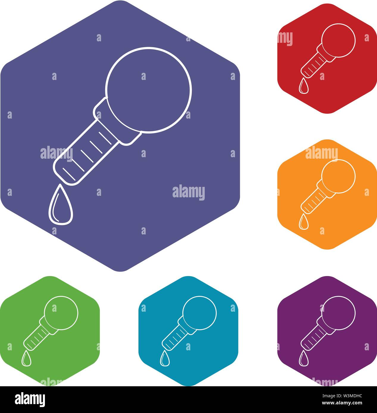 Pipette icons vector hexahedron - Stock Image