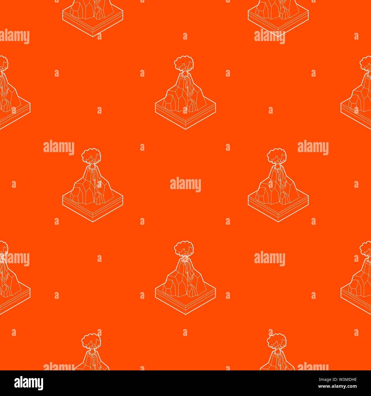 Volcano erupting pattern vector orange - Stock Image