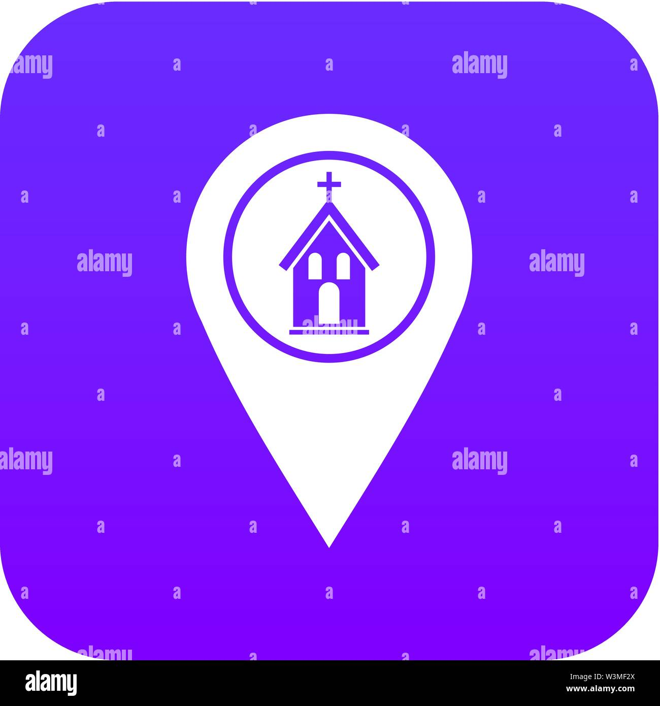 Map pointer with church icon digital purple - Stock Vector