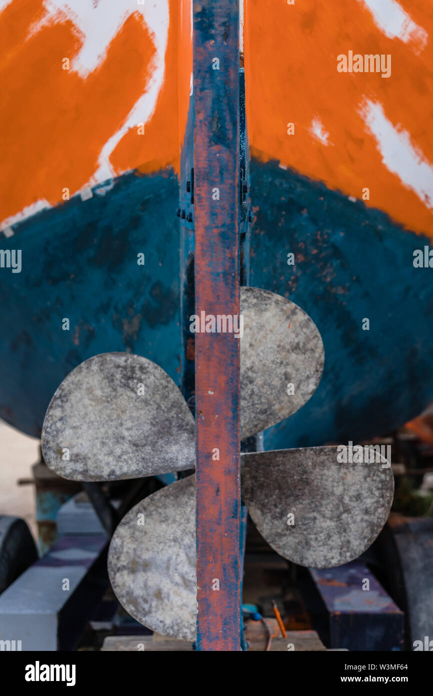 Four blades fisherman boat propeller in port, Zante, Greece - Stock Image