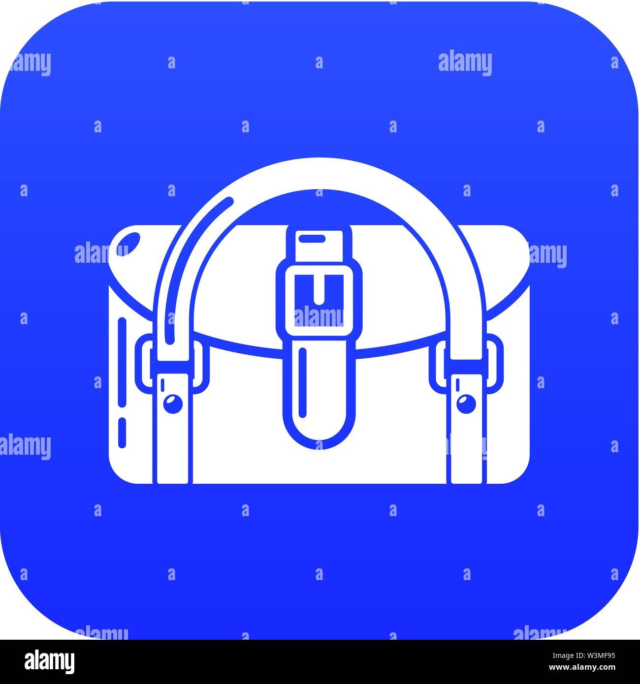 Travel bag destination icon, simple black style - Stock Image