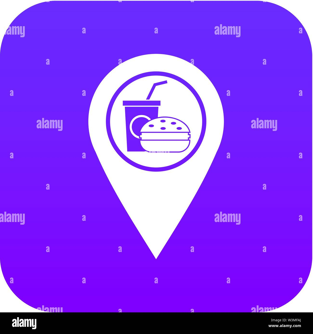 Fast food and restaurant map pointer icon digital purple - Stock Vector