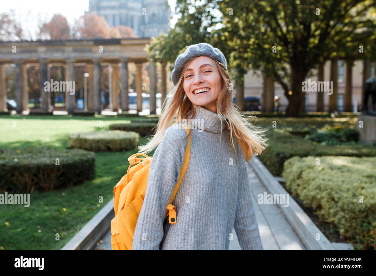 Young woman in Museum Island Park in Berlin, Germany - Stock Image
