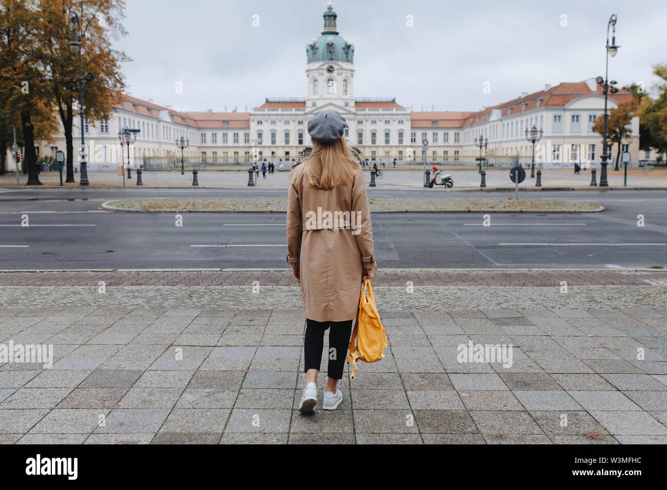 Young woman by Charlottenburg Palace - Stock Image