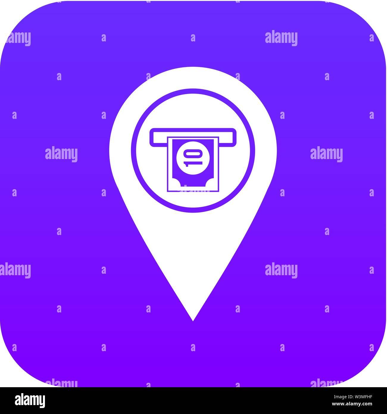 Cash terminal pointer icon digital purple - Stock Vector