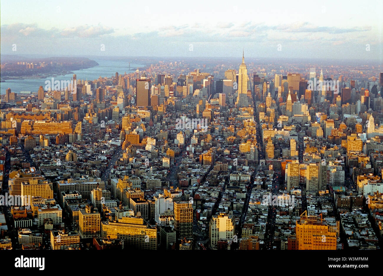 Historical View of  Manhattan cityscape from the top of World Trade Center, New York City, New York, United States of America, North America - Stock Image