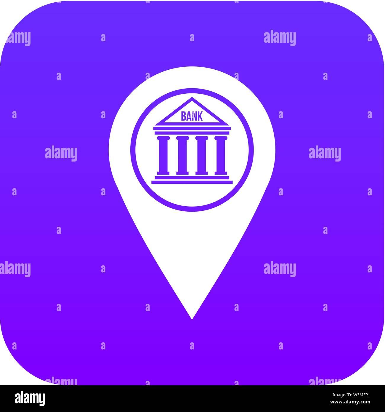 Map pin icon digital purple - Stock Vector