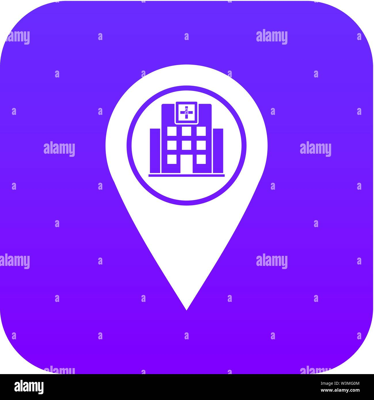 Geo tag with hospital building icon digital purple - Stock Vector